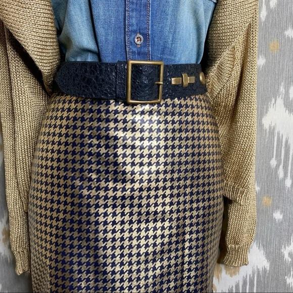 Ralph Lauren Black Label Dresses & Skirts - Ralph Lauren Gold Leather Houndstooth Pencil Skirt